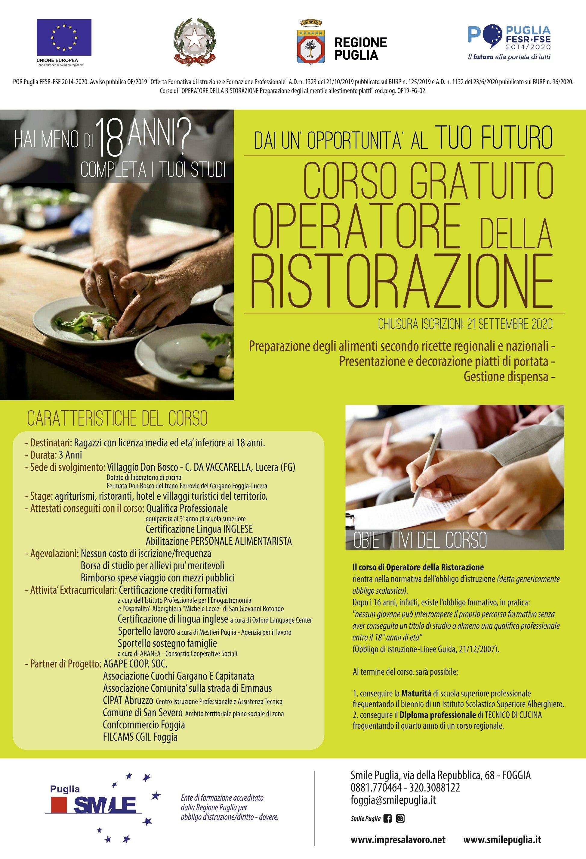 Foggia Divento Cuoco E Mi Diplomo Corso Gratuito Dal 24 Settembre Di Smile Puglia