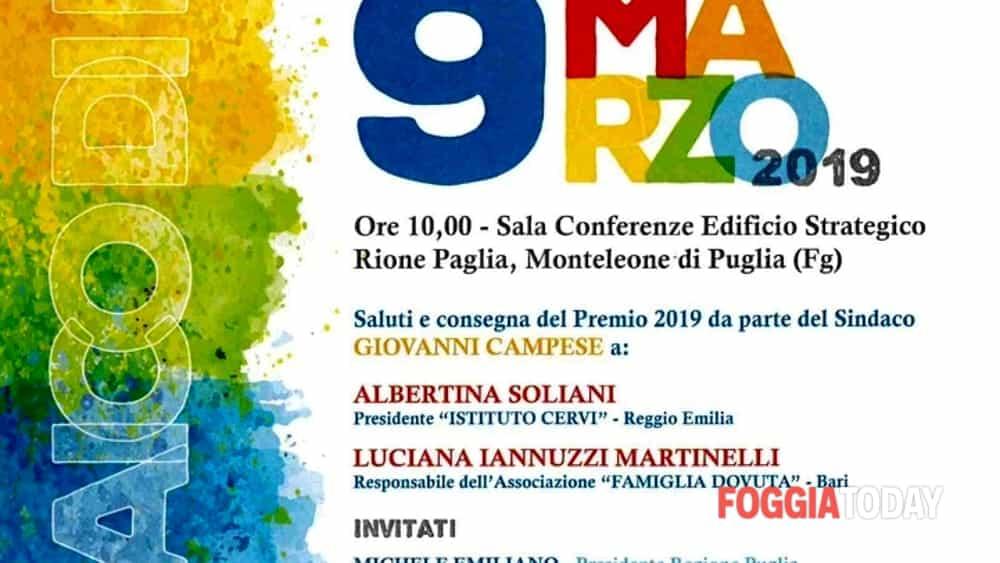 Monteleone di Puglia sabato conferisce il IV Premio Donna impegnata per la Pace e per la Nonviolenza-8