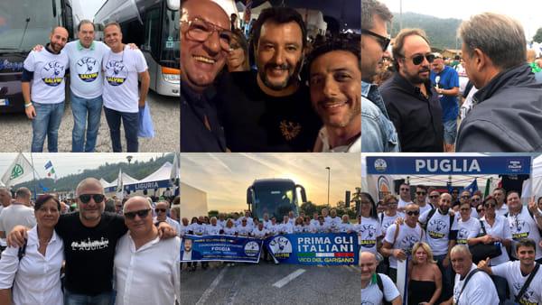 """Foggiani a Pontida,  Salvini dal palco: """"Siete uno spettacolo"""". E annuncia: """"In Puglia vinceremo"""""""