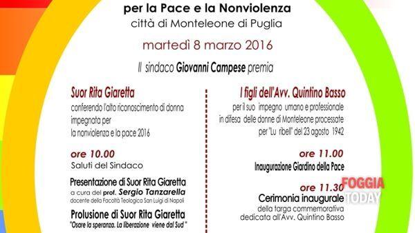 Monteleone celebra il 1° premio internazionale per la pace e la nonviolenza