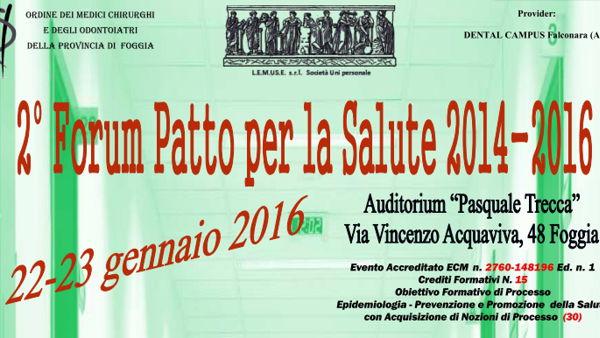 Legge di stabilità e sistema sanitario pugliese. A Foggia, il secondo Forum per il Patto per la Salute