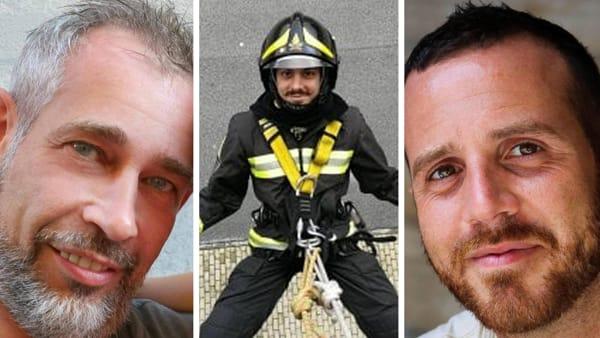 """Antonio, Marco e Matteo: a Foggia l'omaggio ai tre vigili del fuoco morti. I volontari: """"Esempio di dedizione all'umanità"""""""