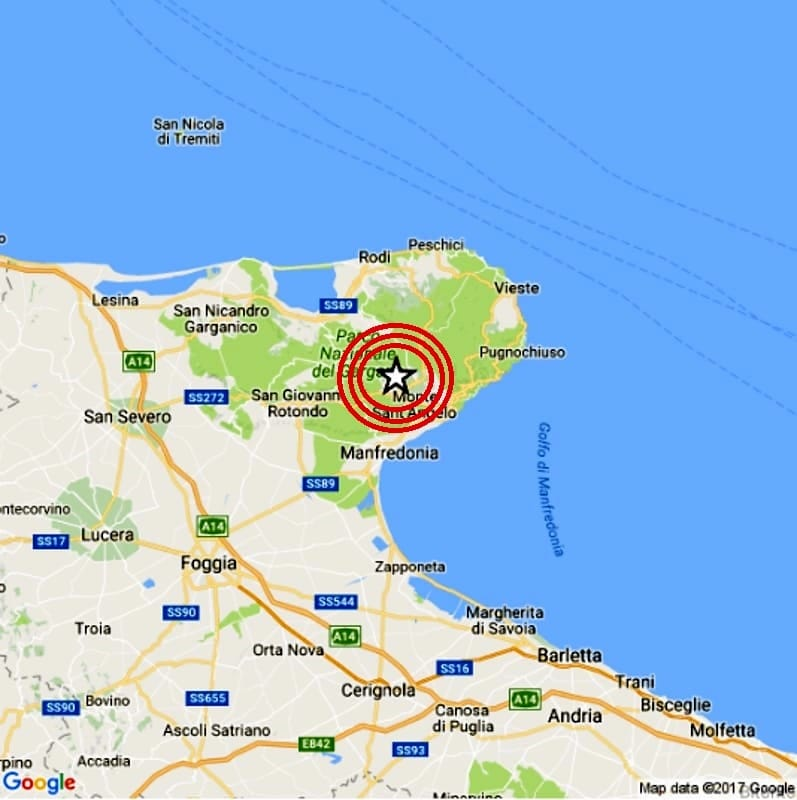 Cartina Puglia Zona Gargano.Terremoto Gargano Foggia 10 Dicembre 2020